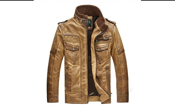chaqueta de cuero color miel